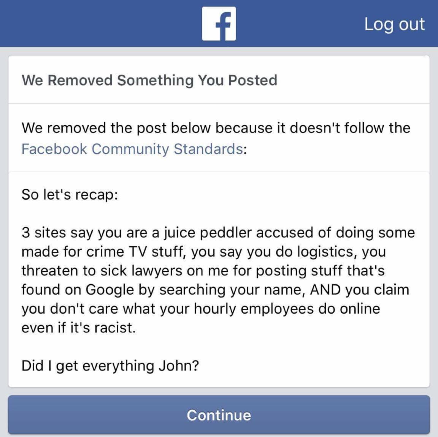 Facebook Ban, onyx truth