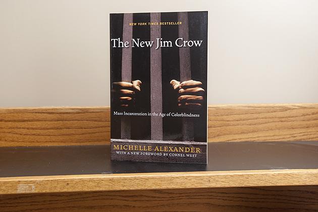The New Jim Crow book on Sept. 10, 2015. (Sean Flynn/UConn Photo)